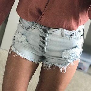 Pants - destroyed denim // button shorts